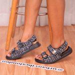 Black Boucle Double Strap Flat Sandals