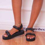 Black Ruched  Platform  Sandals
