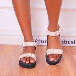 Nude Ruched  Platform  Sandals