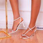 White Cross Strap Sandals