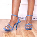Blue Wide Feet Chain Square Toe Strappy Heels