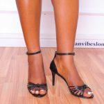 Black Strappy Knot Heeled Sandal