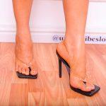 Black Clear Toe Post Heels